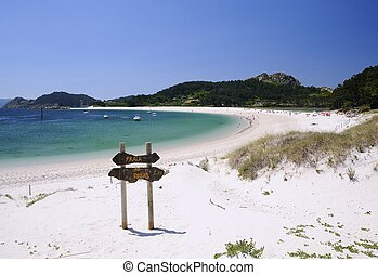 Islands Cies in Vigo, Spain - Cies Islands, National Park...
