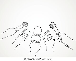 Journalism - Line art illustration of hands holding...