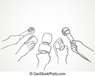Journalism - Line art illustration of hands holding...
