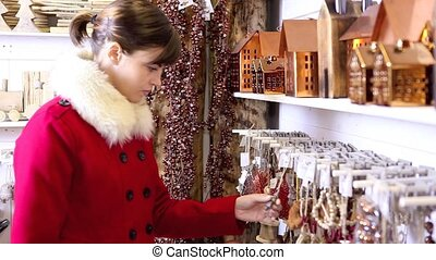 Christmas woman shopping decoration