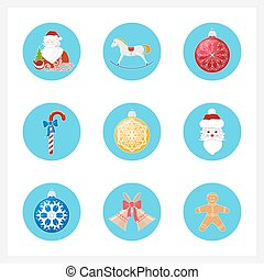 Set of Colorful Christmas Round Icons