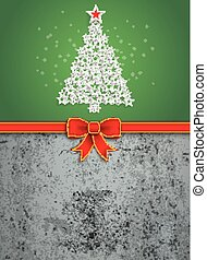 Christmas Stars Tree Red Ribbon Oblong Concrete - Christmas...