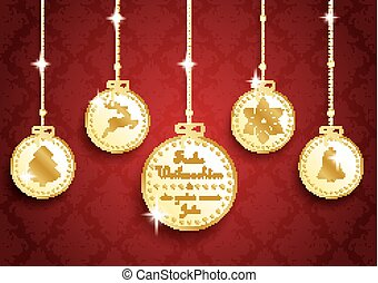 Golden Christmas 5 Circles Red Ornaments - German text Frohe...