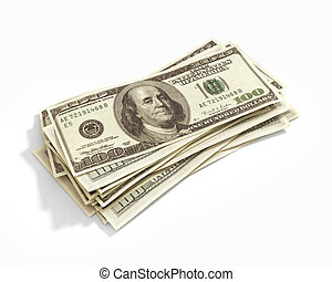 Stack of hundred dollars isolated on white
