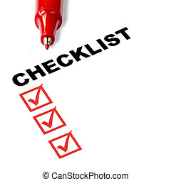 Checklist with red felt pen, and checked boxes