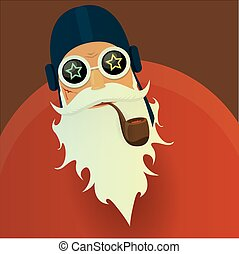 vector biker santa claus with smoking pipe.