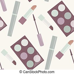 Seamless gentle pattern with makeup
