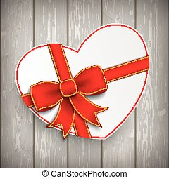 Paper Heart Red Ribbon Wood