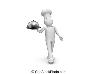 Cook presenting new dish - 3d isolated on white background...