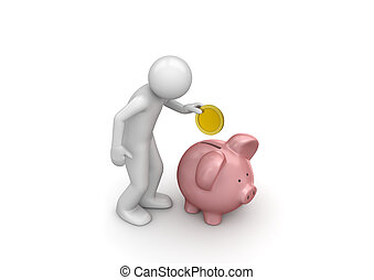Making deposit savings - 3d isolated on white background...