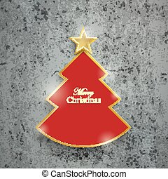 Red Christmas Tree Concrete - Cutting Christmas tree on the...