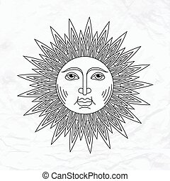Vector sun tattoo - Vector geometric illustration of...