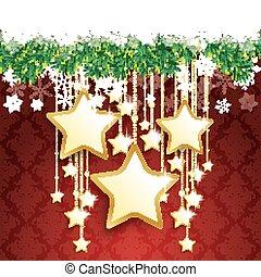 Snow Fir Twigs Bokeh Golden Curtain Big Stars