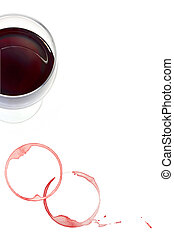 Red Wine and Stains - Glass of red wine with stains and...
