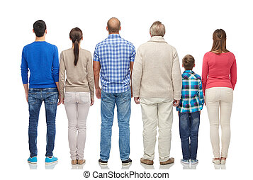 group of people from back - family, gender, generation and...
