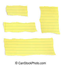Yellow Paper Tears - Set of paper tears, from a yellow lined...