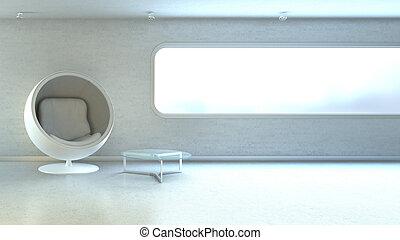 White modern armchair in interrior wall window copyspace -...