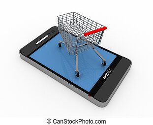 3D smartphone and cart online shopping concept
