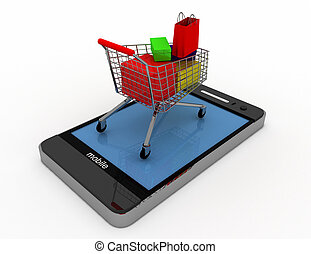 3D smartphone and cart . online shopping concept