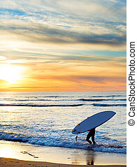 Paddle surfing at sunset, Portugal - Man carrying surfboard...