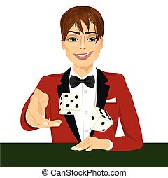 man throwing the dice gambling playing craps