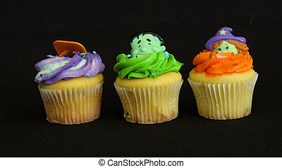 Colorful Halloween Cupcakes - Decorated Halloween cupcakes...