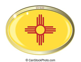 New Mexico State Flag Oval Button