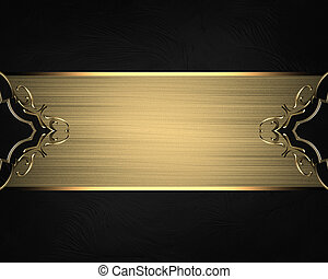 Golden plate for text on a black background. Element for...