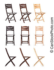 Wooden chairs isolated on white background