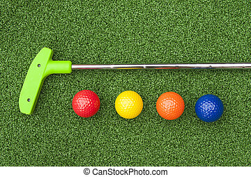 Green Putt Putt Club with Balls - Green club and balls for...