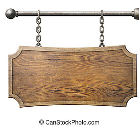 wood sign hanging on chain isolated on white