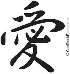 Kanji symbol for the word Love - Hand drawn kanji symbol for...