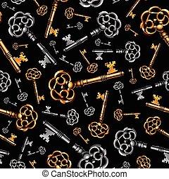 Gold and silver vintage keys on black background seamless pattern