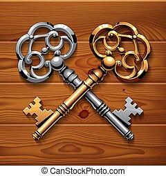 Golden and silver crossed shiny vintage keys on brown wood boards texture background