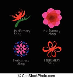 Red, green and purple perfumery brand logos set on black...