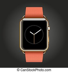 Modern shiny 18-karat yellow gold smart watches with red...