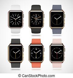 Set of 6 edition modern shiny golden smart watches with soft...
