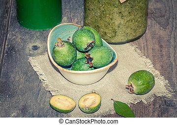 Fresh fruits of feijoa and feijoa jam - Fresh fruits of...