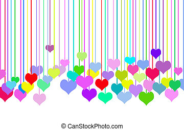 Row Of Hearts - Colorful hearts on white background.