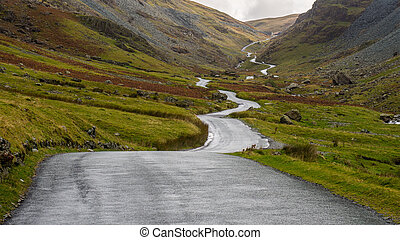 Honister Pass Road, Lake District, England - A high level...