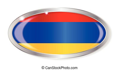 Armenian Flag Oval Button - Oval silver button with the...