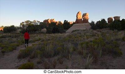 Hiker in Devil's Garden Utah