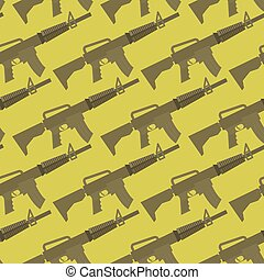 Automatic gun seamless pattern. Military background. Weapons...