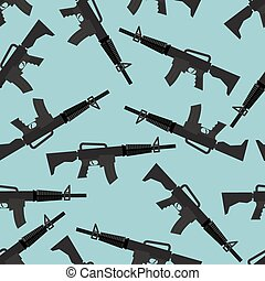 Automatic rifle M16 seamless pattern. Arms on blue...
