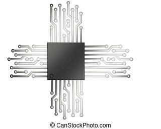 3d illustration of cpu chip central processor unit with...