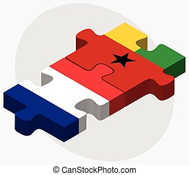 France and Guinea-Bissau Flags in puzzle isolated on white...
