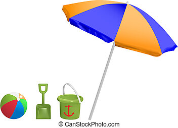 beach toys - vector beach toys and umbrella