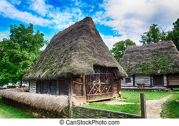 The old houses,village museum,Bucharest,Romania,Europe.HDR...