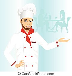 cheerful male hipster chef holding something