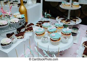 Delicious fancy wedding cake made of cupcakes